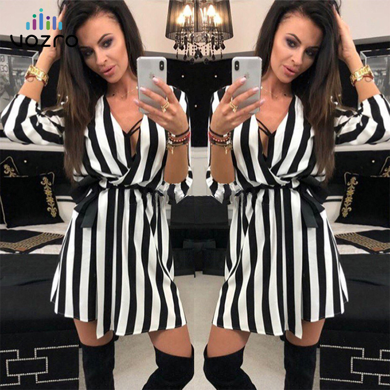VOZRO Suit-<font><b>dress</b></font> Stripe V Lead Chalaza Leisure Time <font><b>Sexy</b></font> Party Autumn <font><b>White</b></font> Black <font><b>Dress</b></font> Women Vestido <font><b>Dresses</b></font> Clothes Shirt image