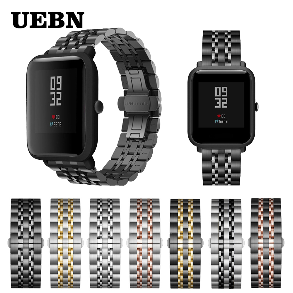 UEBN 20mm Metal Strap For Xiaomi Huami Amazfit Bip Stainless Steel 22mm Bracelet For Amazfit GTS/GTR 42mm 47mm WatchBand