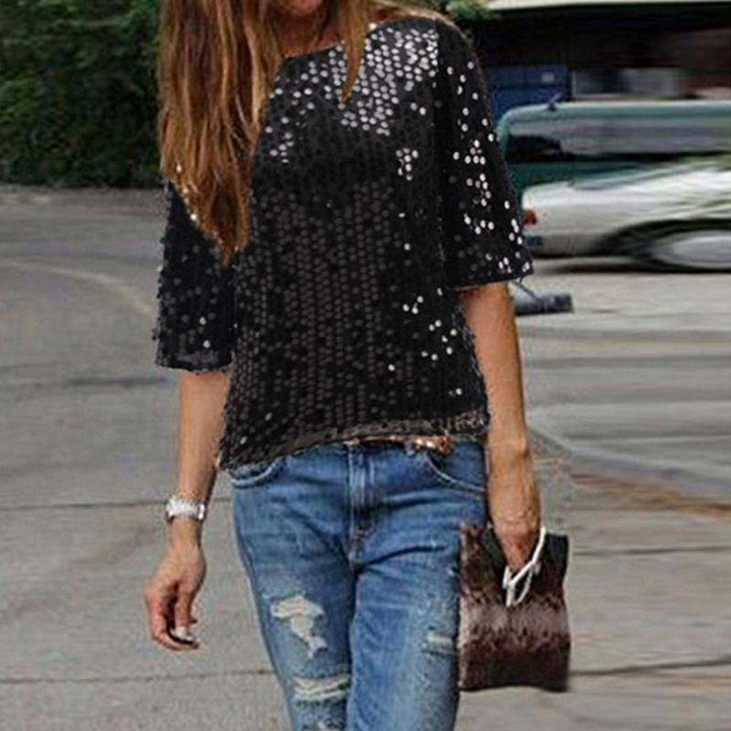 Wiosna europejska i amerykańska moda odzież damska Pearl segmentów z długim rękawem koszulka damska Bling cekinami koszulki z krótkim rękawem w Koszulki od Odzież damska na  Grupa 1