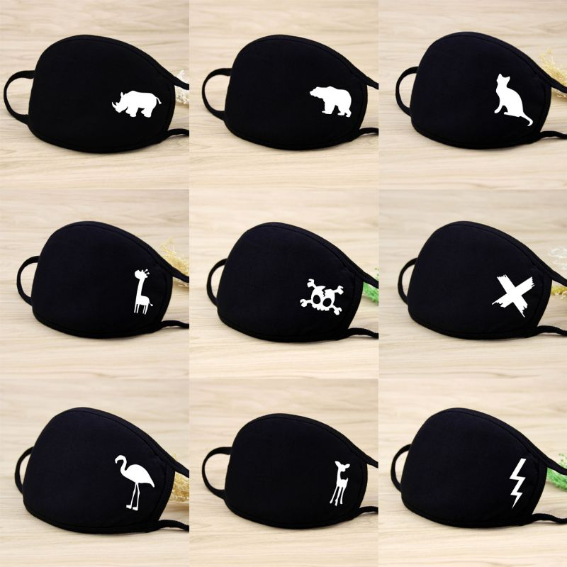 1Pc Unisex Winter Warm Thickening Half Fa  Mouth Mask Cotton Cartoon Pattern  -Dust  -Bacterial Respirator Classic Black