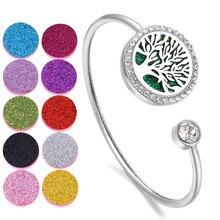 Браслет с аромадиффузором эфирных масел, Браслет-медальон для ароматерапии, браслет с аромадиффузором из нержавеющей стали с деревом жизни