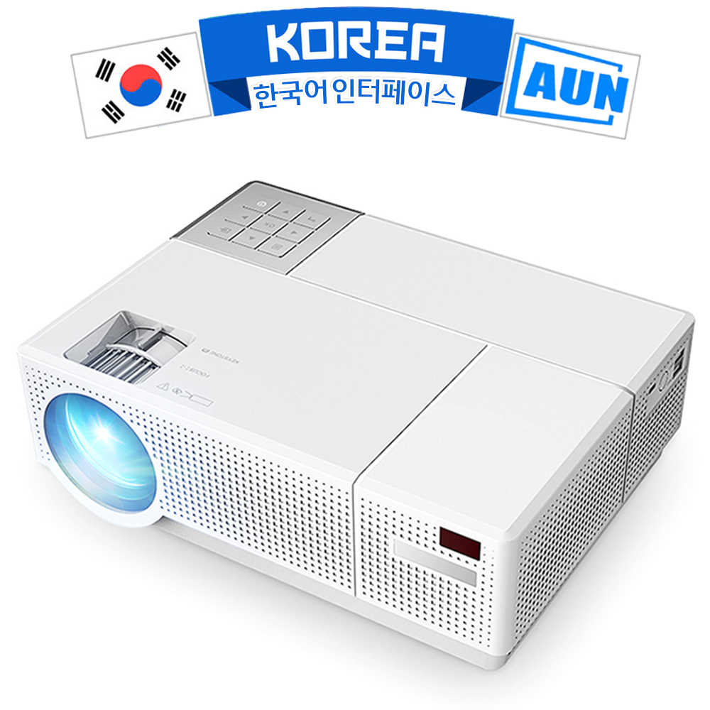 AUN Full HD LED Proyektor D70. 1920X1080P 6800 Lumens Hi Fi Double Speaker, 3D Video Beamer untuk Home Cinema, Dukungan HDMI, VGA