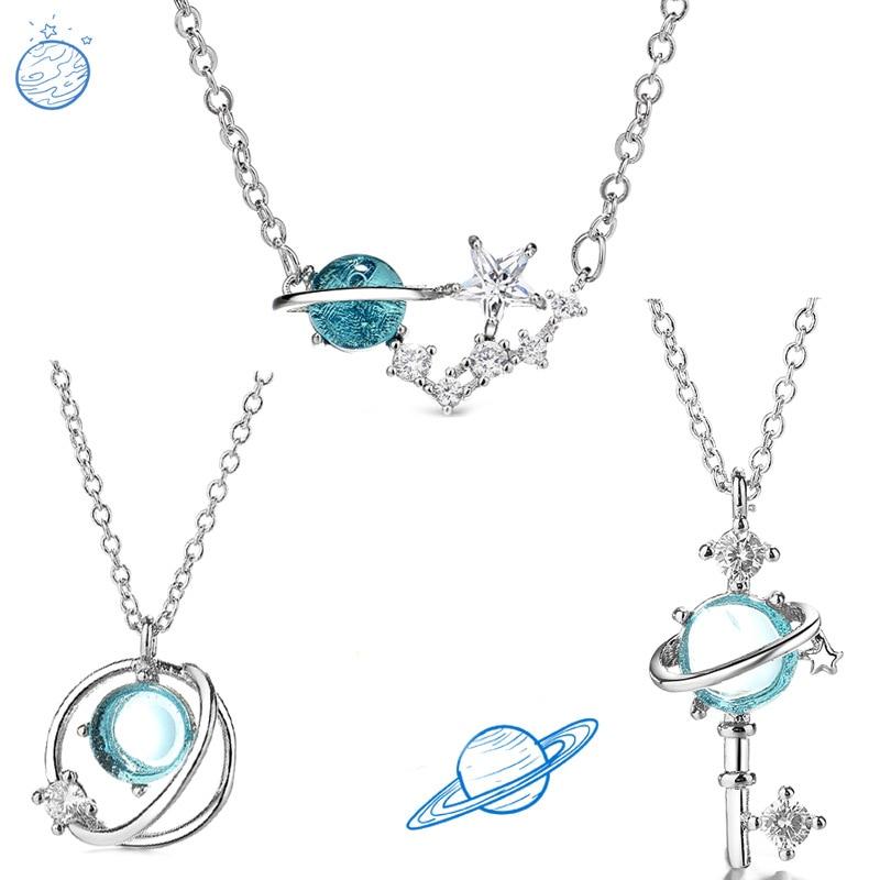 Todorova-collar con colgante de planeta universo para mujer, Estrella mágica, Saturno, cristal azul, Circonia cúbica, regalo