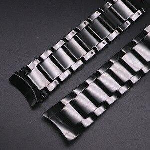 Матовый керамический ремешок 22 мм 24 мм для AR1451 AR1452 из нержавеющей стали с пряжкой-бабочкой, мужской сменный Браслет для часов
