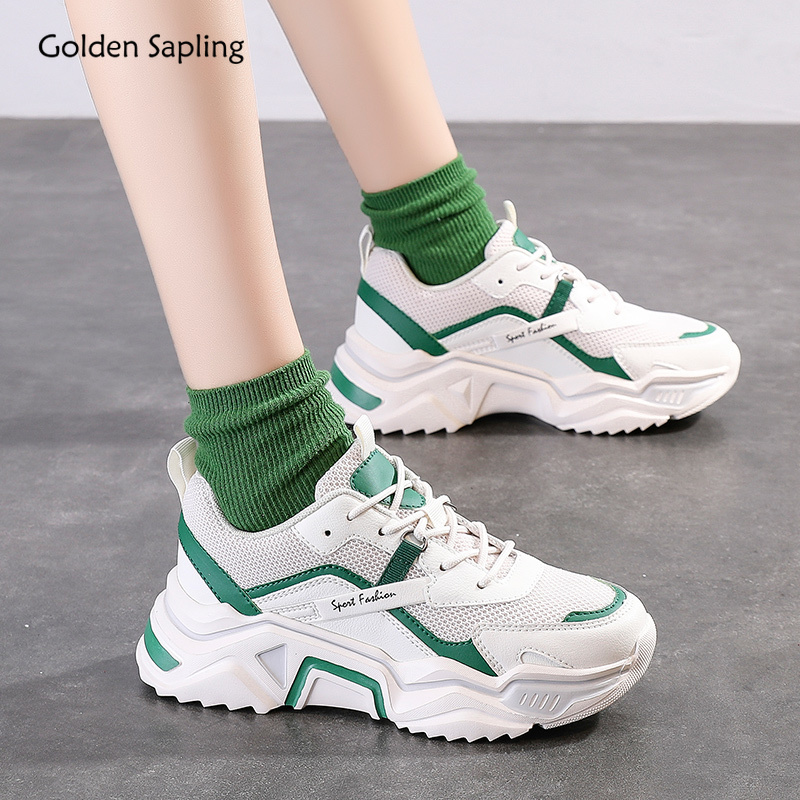Golden Sapling Breathable Women's Running Shoes Classics Platform Sneakers Air Mesh Heigh Increasing Trainers Sport Shoes Women