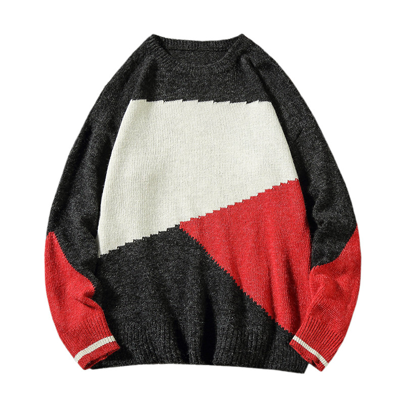 Color Matching Large Size Sets Of Sweaters Men's Round Neck Korean Version Of Loose Casual Knit Bottoming Shirt Large Size M-5XL