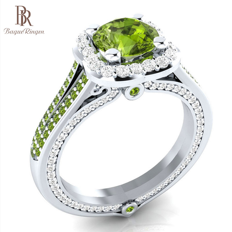 Bague Ringen 3 Colors Fashion OL Lady 925 Silver Ring With 8mm Diameter Ziron Jewelry For Women Weddings Engagement Dating Gift