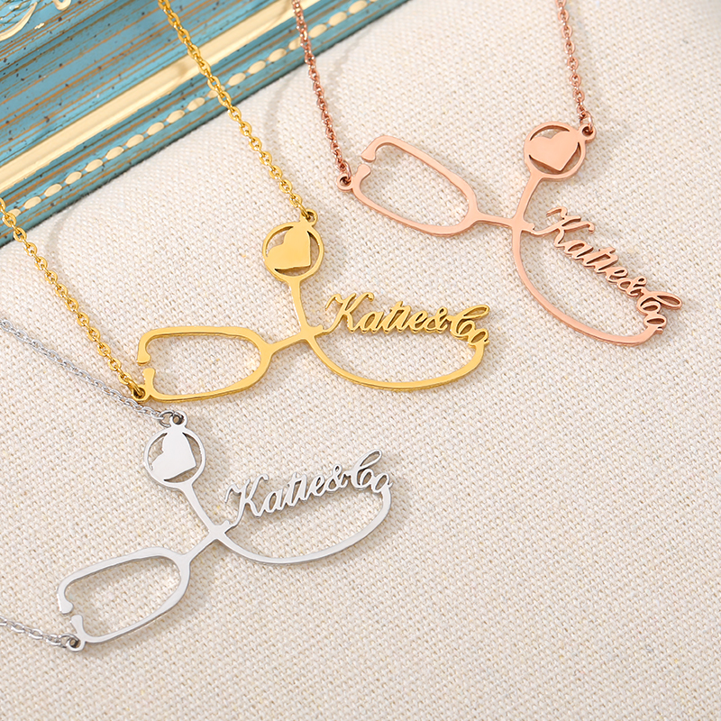 Custom Stethoscope Name Necklace Silver Gold Chain Stainless Steel Customized Charm Necklace For Women Men Nurse's Jewelry Gift