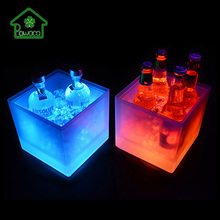 Multicolor 3.5L Square Ice Bucket LED Color Changing Double Layer Champagne Wine Beer Drinks Cooler Kitchen Bar Party Ice Bucket free shipping plastic led ice bucket color changing plastic ice bucket luminous ice pail ice cooler glow beer cask wine barrel