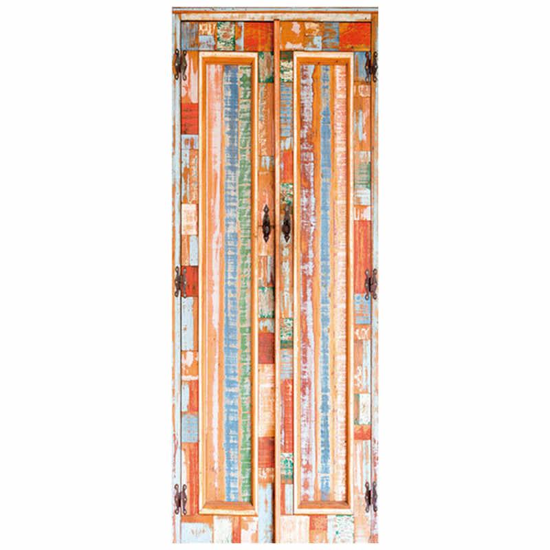 77*200cm 3d kapı çıkartmalar batı kırsal eski ahşap kapı 3d duvar sanatı vinil duvar eski ev dekorasyon su geçirmez duvar kağıdı