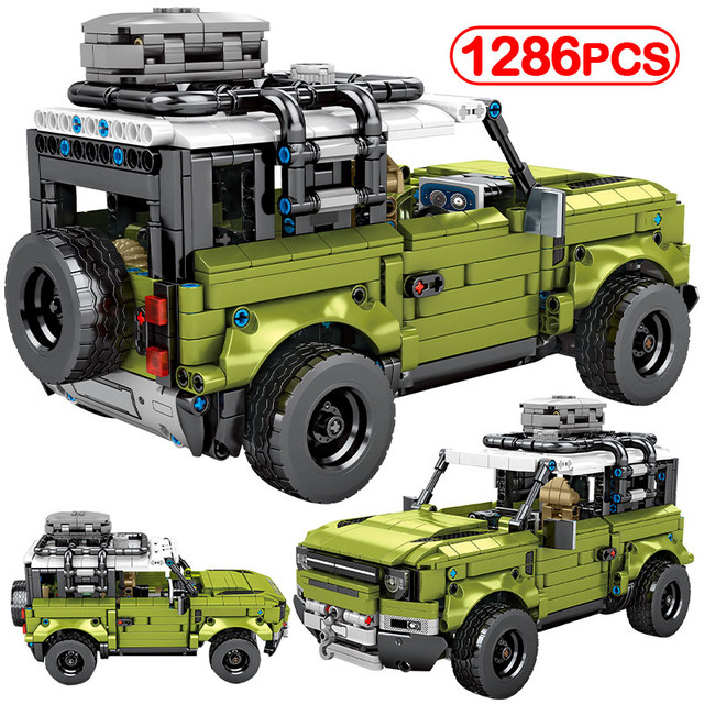 1286Pcs City Technic Mechanical Pull Back Off-road 4WD SUV Vehicles Model Building Blocks Racing CarBlocks Toys For Children