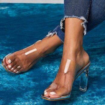 Sandalias mujer 2020, zapatos de verano cómodos de PVC transparentes sexis para mujer, zapatos de tacón claros para mujer, sandalias de boda sólidas para chicas, novedad de 2020