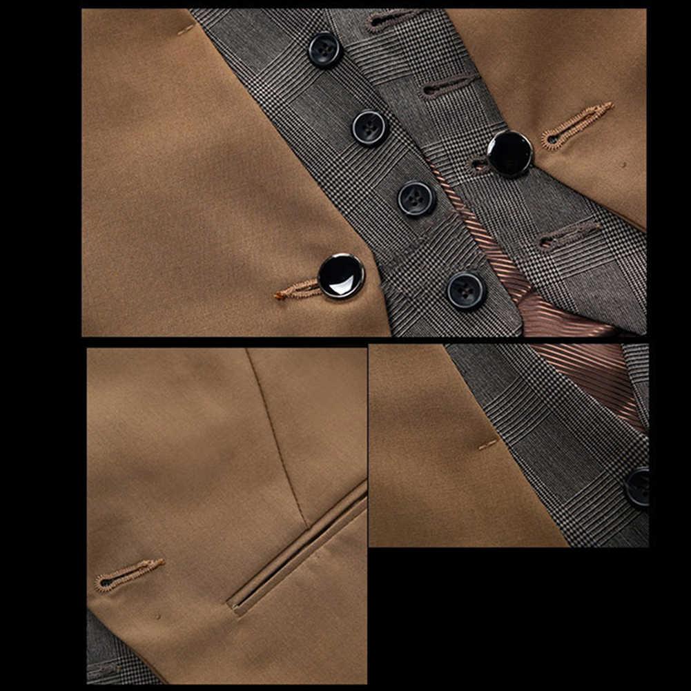 Mężczyźni formalna kamizelka kamizelka biznes jednokolorowy zapinany na jeden guzik kamizelka kamizelka fałszywy dwuczęściowy dekolt V Casual s-lim chalecos para hombre
