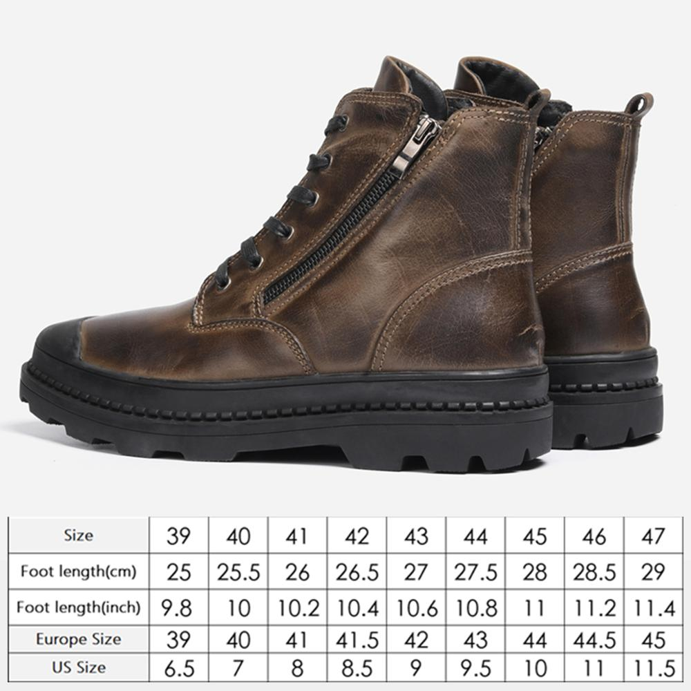Natural Cow Leather Men Winter Boots Handmade Retro Men Boots Genuine Leather Men Winter Shoes #CX9550 6