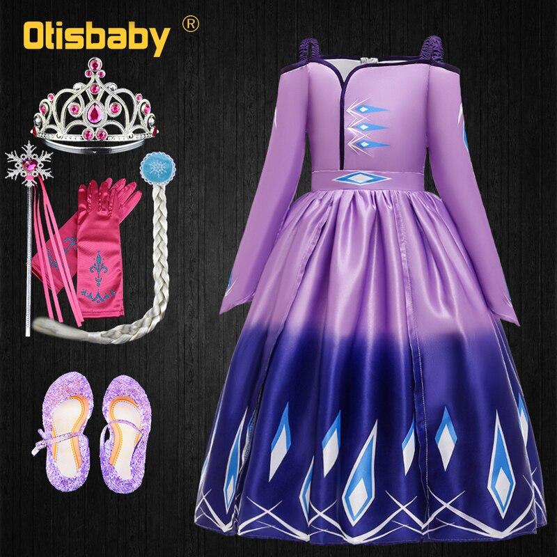 Elsa 2 Girls Elsa Dress Halloween Princess Anna Costume Child Snow Queen Purple Light Blue Long Sleeve Shoulderless Dresses