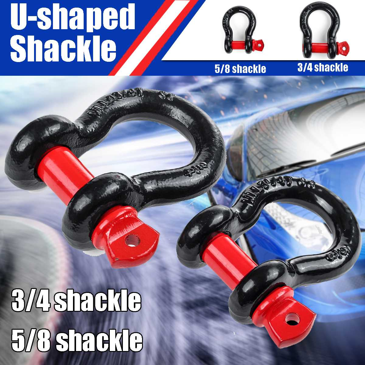 Universal Trailer Hook Heavy Duty Galvanized Shackles D Ring 12,000 Lbs Capacity For Vehicle Recovery Towing Car 3/4 5/8 Shackle