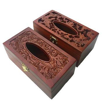 Vintage Wooden Hollow out Embossing Tissue Box Paper Napkin Holder Home Decor box European classical creative  tissue