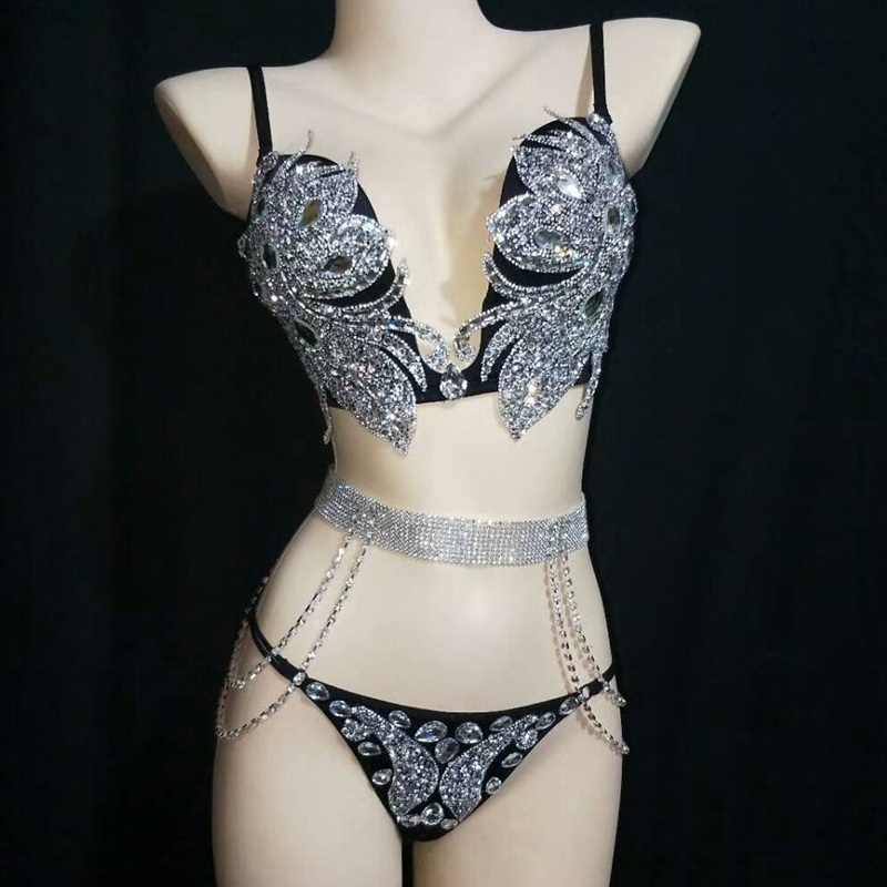 Sparkly Silver Crystals Bikini Set Sexy Bodysuit Women Nightclub Bar Outfit Performance Stage Wear Dance Costume Party Dress