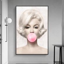Pósteres e impresiones artísticos Vintage de lienzo de chicle rosa para chicas con pinturas de lienzo de retrato en la pared imágenes artísticas decoración del hogar