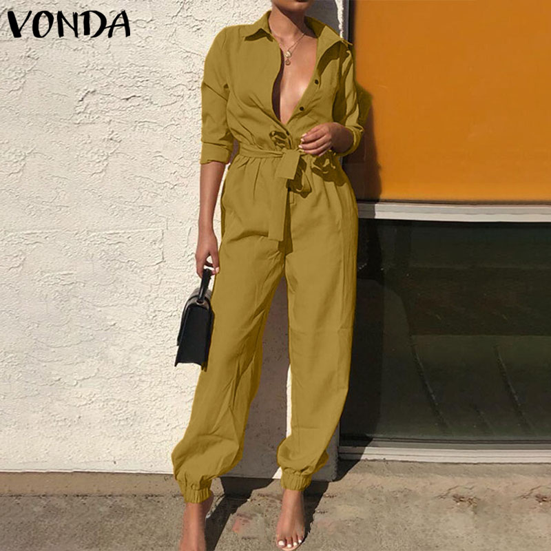 VONDA Rompers Womens Jumpsuits Casual Solid Color Long Sleeve Sexy V Neck Overalls Plus Size Bohemian Party Playsuits Femme 5XL