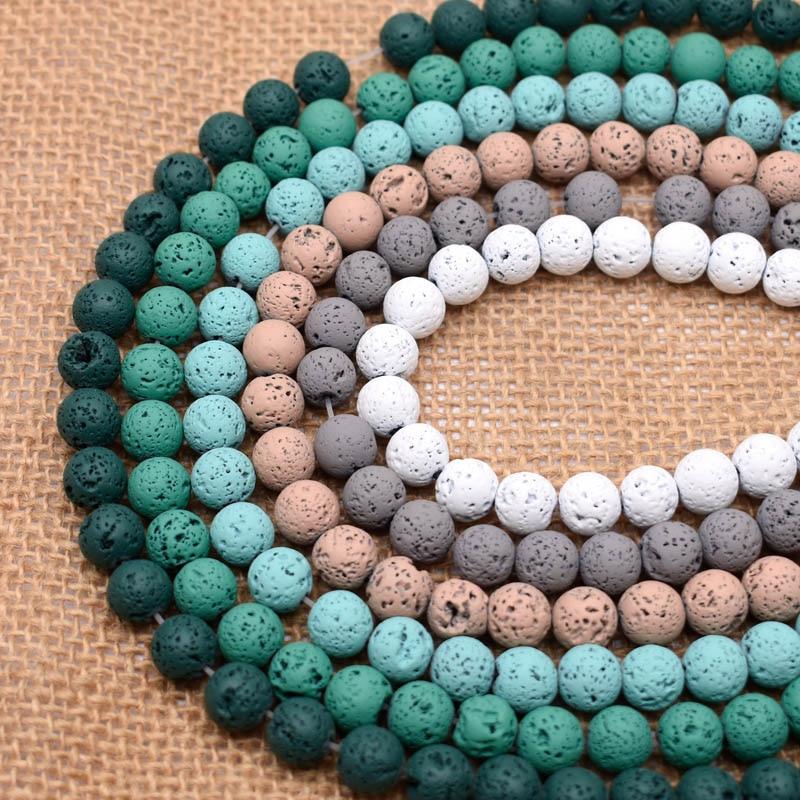 Yanqi-perle en pierre naturelle de 8mm, 1 brin/lot, pierre de lave colorée, perle d'espace ample, pour la fabrication de bijoux, collier Bracelet à bricoler soi-même, 15 pouces