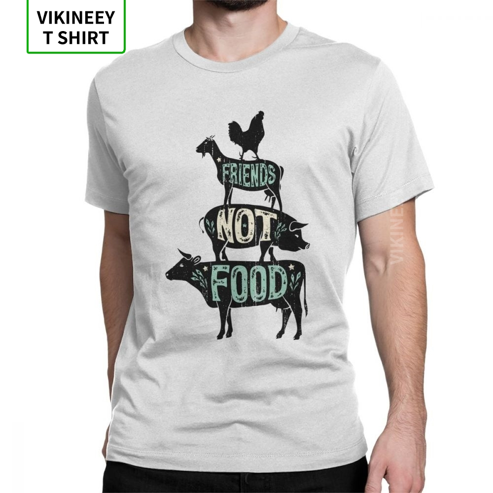 Man Friends Not Food Vegan Vegetarian Animal Lovers T-Shirt Vintage Distressed T-Shirt Funny Short Sleeve Clothes Pure Cotton