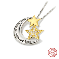 StrollGirl New 100%925 Sterling Silver Moon and Star Chain Necklace and Pendant with Zircon Fashion Jewelry Valentine's Day Gift