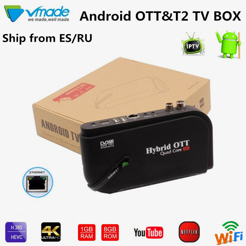 <font><b>Android</b></font> TV BOX 7,1 OS & <font><b>DVB</b></font>-<font><b>T2</b></font> Combo Terrestrischen TV Receiver TV box 1GB 8GB Amlogic S905D <font><b>octa</b></font> core 1,5 GHz smart tv box image