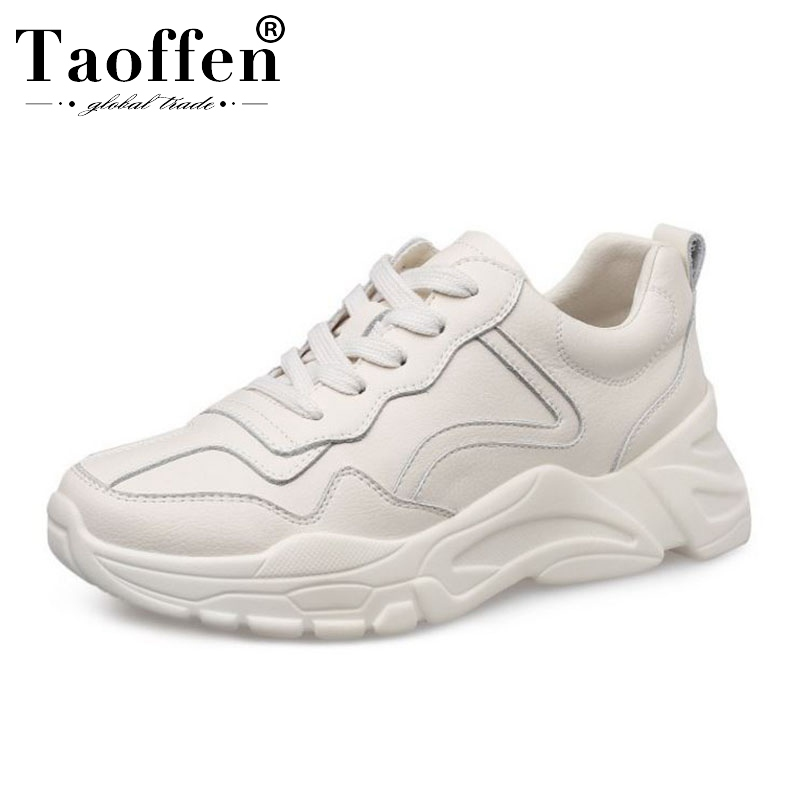 Taoffen Women Daily Real Leather Sneakers Shoes Woman Lace Up Round Toe Vulcanized Shoes Leisure Women Footwear Size 35-39