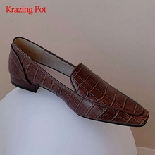 Pumps Square Toe Low-Heel Leather-Stone-Pattern Classic-Colors Korean Young Slip-On L38
