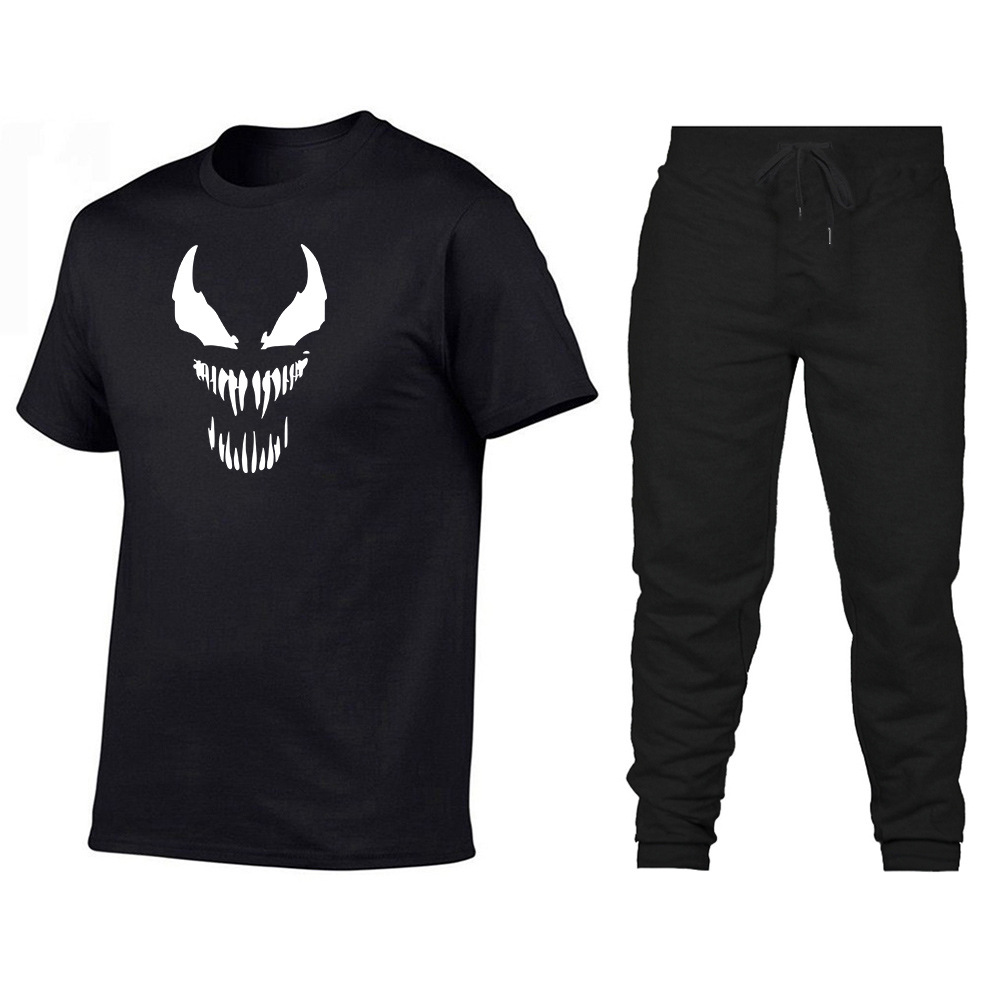 Hot Sales Venom Printed Short Sleeve Loose-Fit T-shirt Pants Set European Version Of New Style T-shirt Casual MEN'S Sports Pants