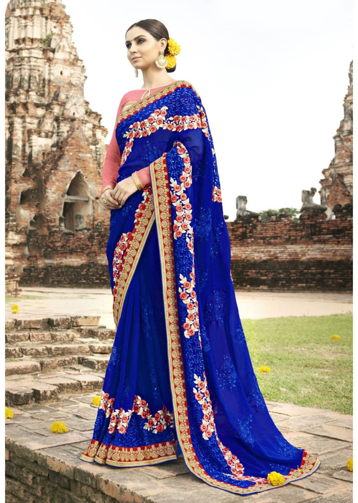 Indian Sari Royal Blue Embroidered Party Dress Indian Bollywood Ethnic Clothing Indian Costume Sarees for Women In India Saris