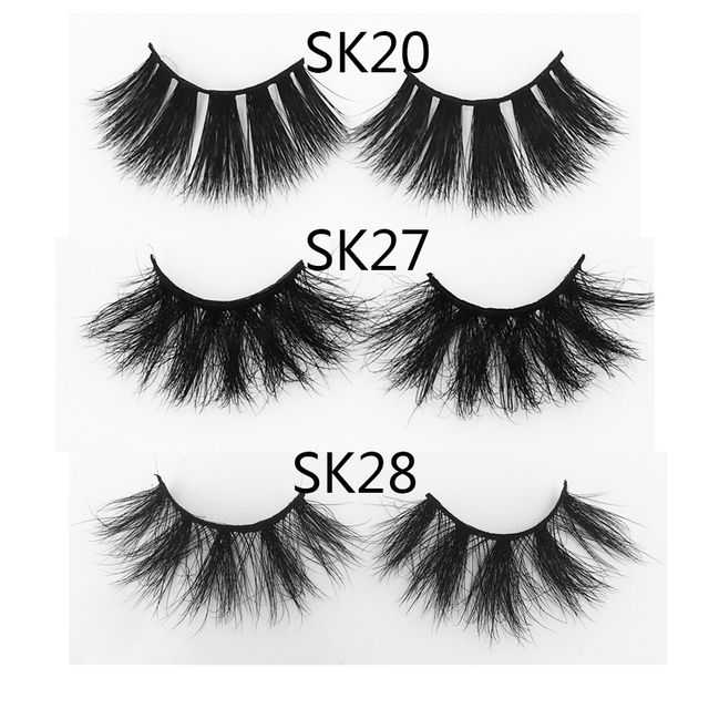 3D 25mm Mink Hair False Eyelashes Natural Long Wispies Lashes Handmade Criss-cross Eyelash Extension Makeup Tools in Bulk 2