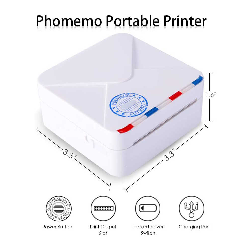 Impresora fotográfica portátil Phomemo M02S, 300dpi, HD, Bluetooth, pequeña impresora térmica, Mini impresora térmica de bolsillo Phomemo