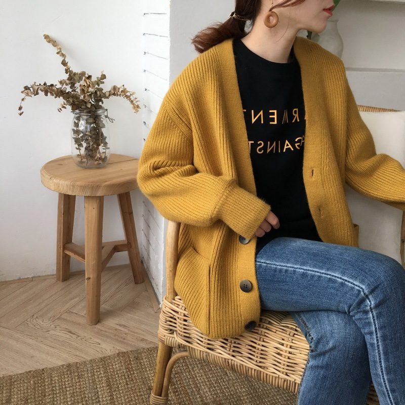 2019 Women sweater lady female Autumn Cardigans Casual Long Sleeve Knitted Winter Thick Loose Solid women pullover #CFHY 1