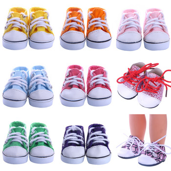 Doll Shoes Colorful Leather Canvas Shoes Best Sweet Gift For 14.5 Inch Nancy Wellie Wisher & 32-34 Cm Paola Reina For Kids Toy image