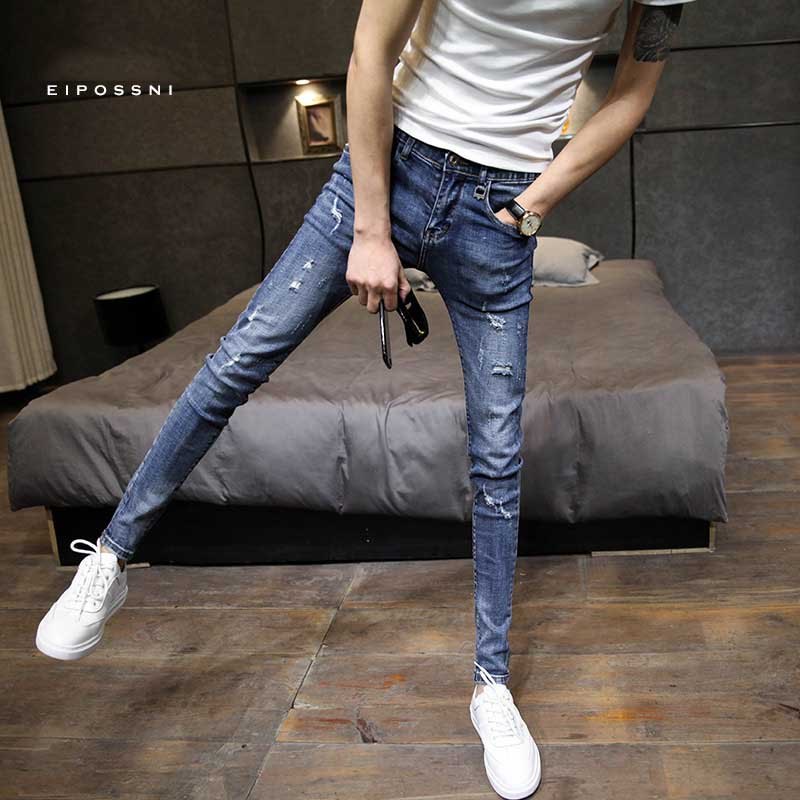 Fashion 2019 Spring Autumn Hole Skinny Jeans Hombre Male Students Distressed Slim Slimming Ankle Length Pencil Pants Trousers