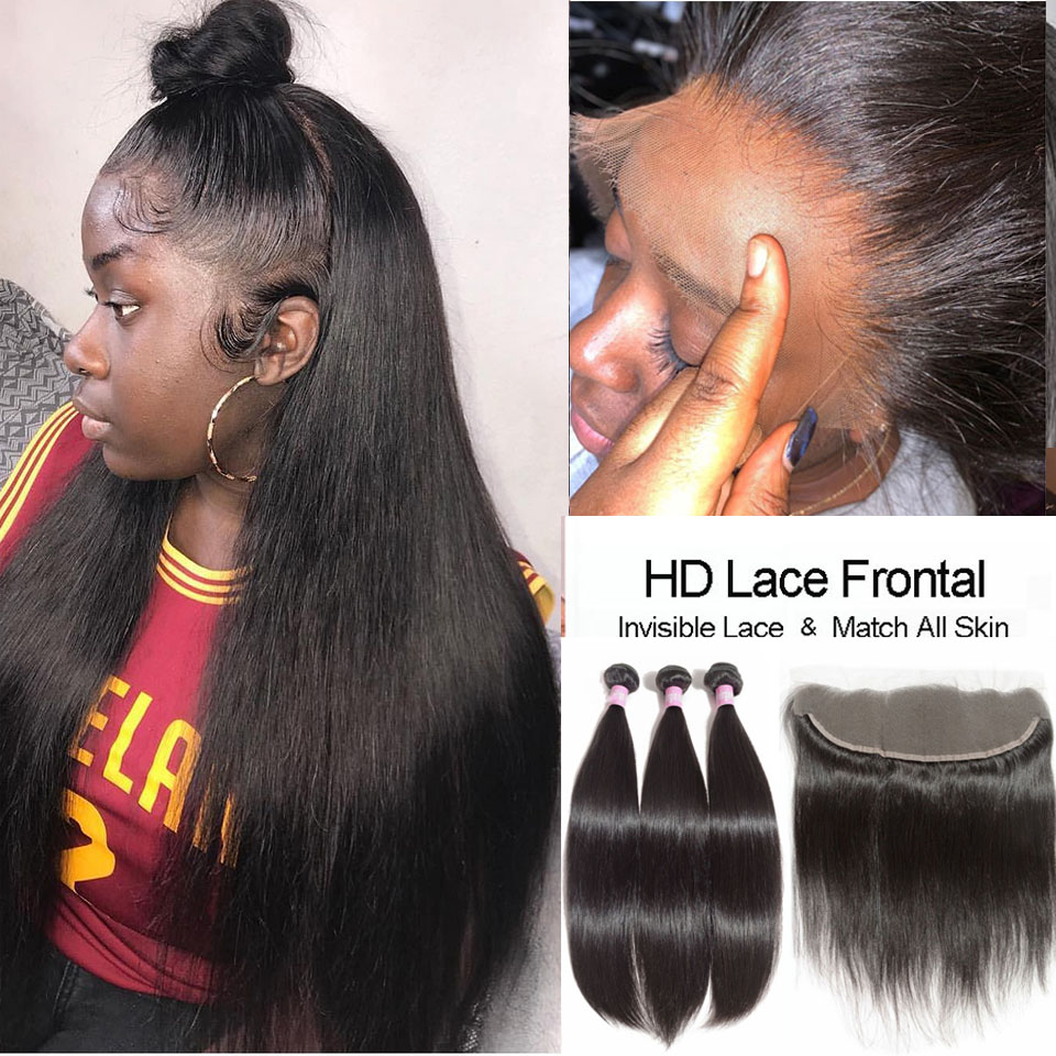 Real HD Lace Frontal Closure With Bundles Malaysian Straight Hair Bundles With HD Frontal Human Hair Weave With HD Lace Closures