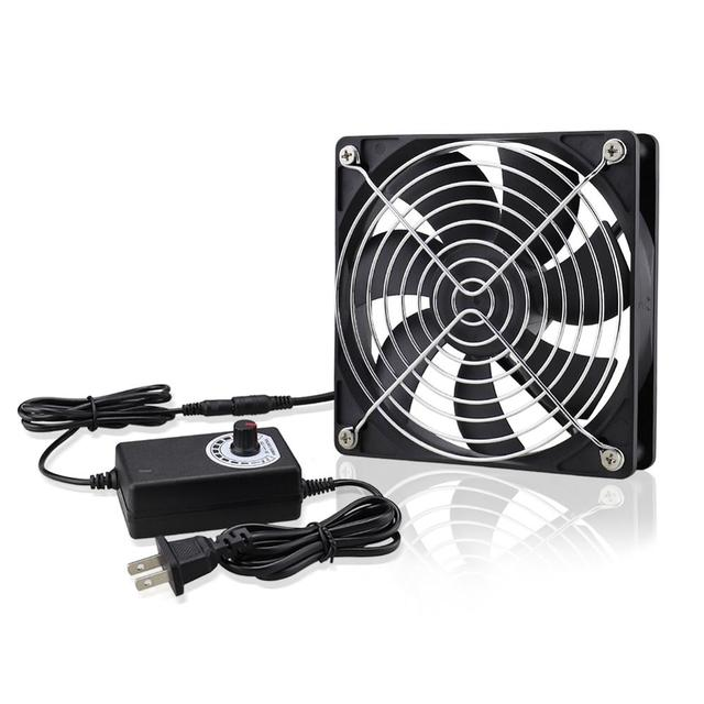 120mm AC 110V 220V DC 12V Powered Fan with Speed Controller, for Receiver Amplifier DVR Playstation Xbox Component Cooling