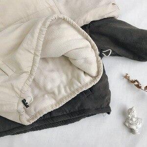 Image 3 - WLG 冬ボーイズガールズパーカー子供付き長袖レタープリントベージュグレーコート赤ちゃん厚い服