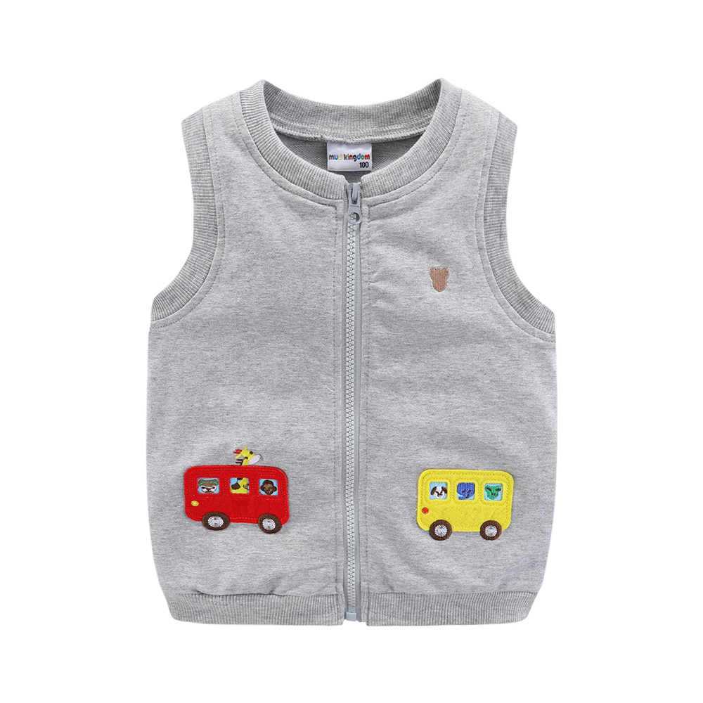 Mudkingdom Boys Vests Kids Jackets Cartoon Car Zipper 2020 Spring Autumn Sleeveless Jackets for Kids 6