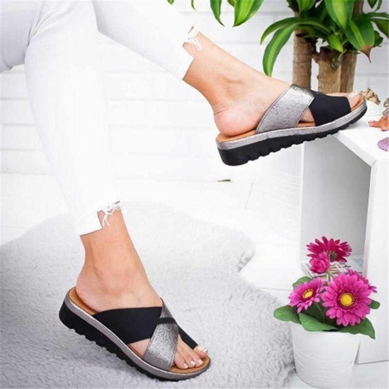 Kadınlar için rahat Platform sandalet bunyon düzeltici ayakkabı ayak doğru düz taban plaj ortopedik terlik ayak bakımı