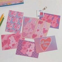 Tarjeta postal de conejo de amor Rosa japonés para niños, Material de sobre de cuenta artesanal, decoración de pared, pegatina, póster pequeño, regalo
