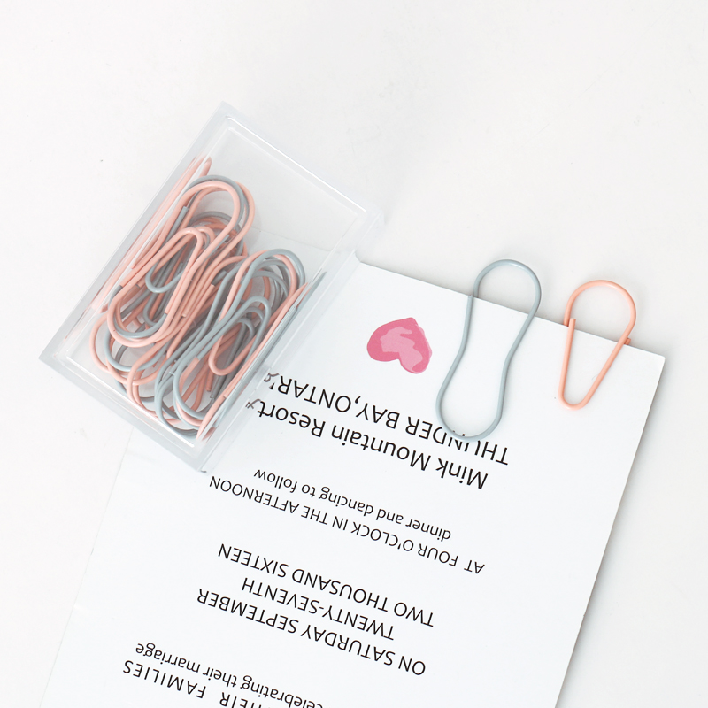 TUTU 25pcs / Lot Modeling Paper Clips Metal Material Water Drop Shape Bookmark Memo Clips H0356