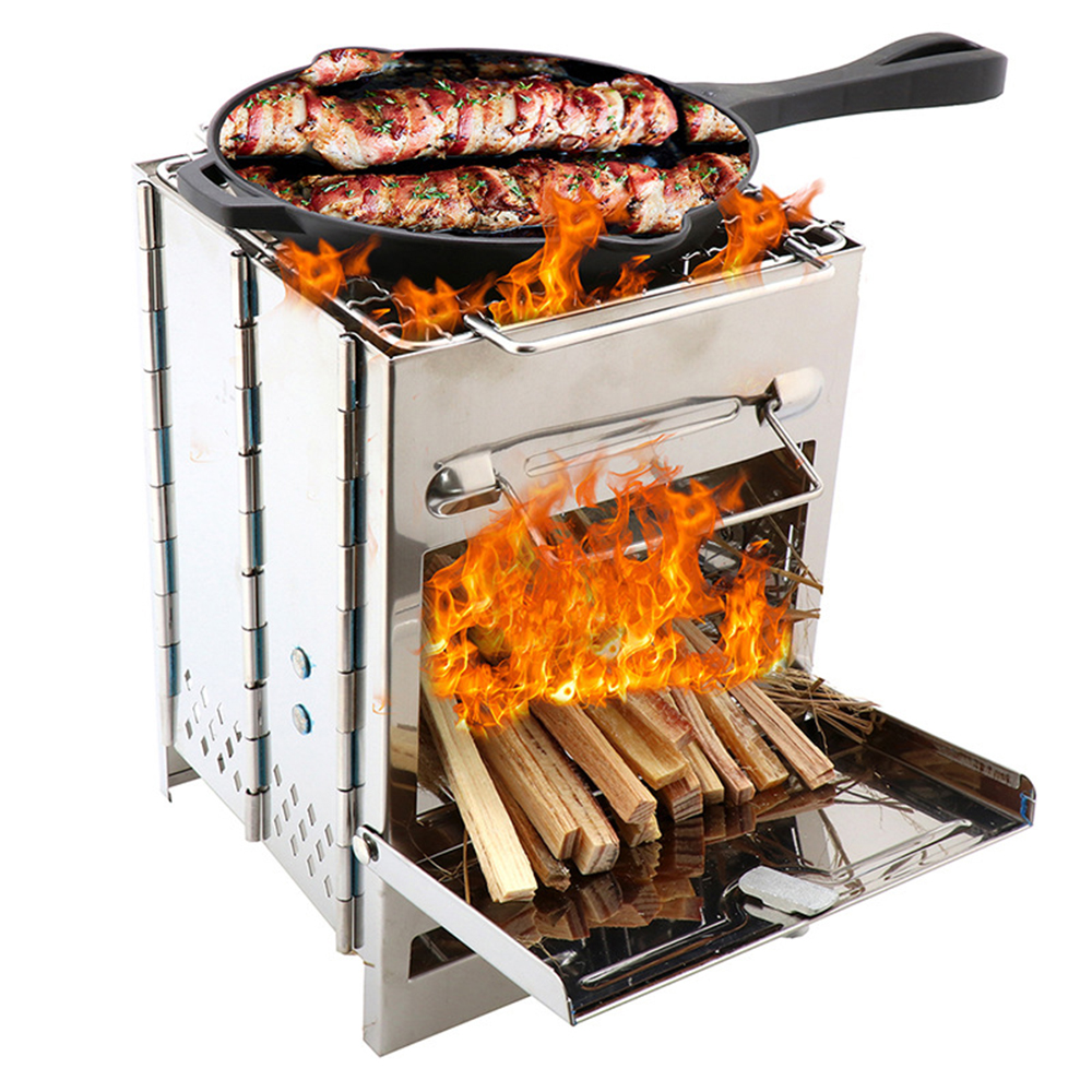 Portable Grill Rack Stainless Steel Stove Pan Camping Roaster Charcoal Barbecue Home Oven Set Picnic Cookware