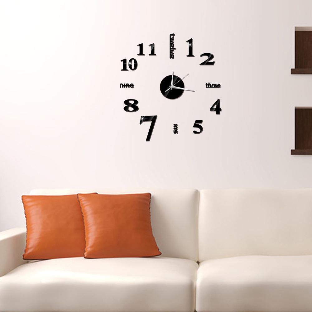60x60cm Fashion DIY Acrylic Mirror Wall Clock Europe 3D Wall Clock Big Quartz Watch Clock Living Room Home Decoration Stickers