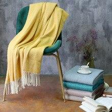 Manta de tela escocesa suave de lana Artificial con borla para sofá cama elegante ligero acogedor
