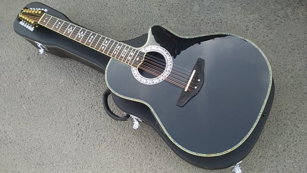 Free Shipping 12 String Ovation Guitar Round Back Solid Ovation Carbon Fiber Electric Guitar 12 Strings Acoustic Guitar