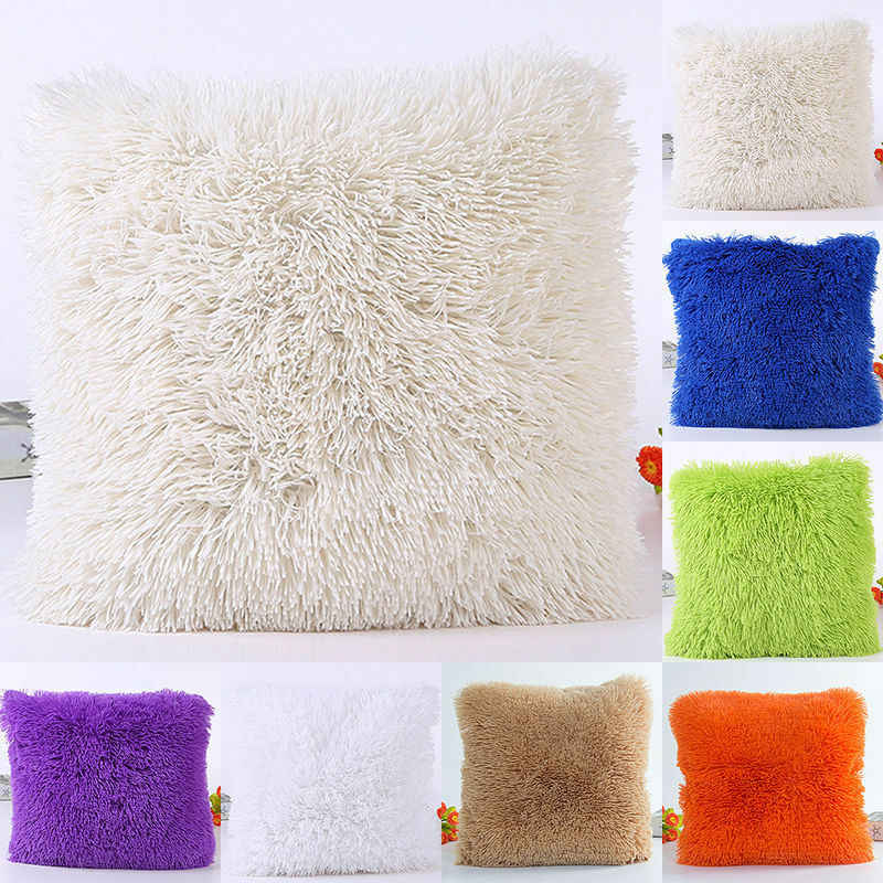 Mode 43*43cm Kussensloop Pluche Furry Cover Sierkussen Case Home Bed Room Decor Home Decor