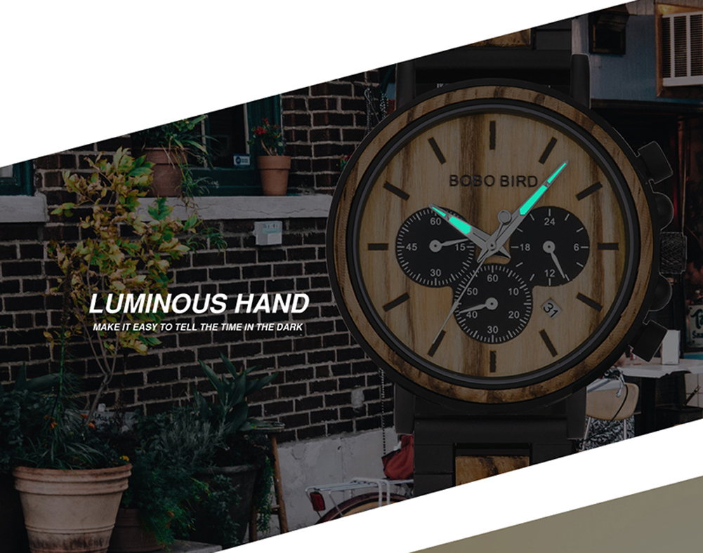 H9d332e24a5154ab2872661e3e4912995a BOBO BIRD Wooden Watch Men erkek kol saati Luxury Stylish Wood Timepieces Chronograph Military Quartz Watches in Wood Gift Box
